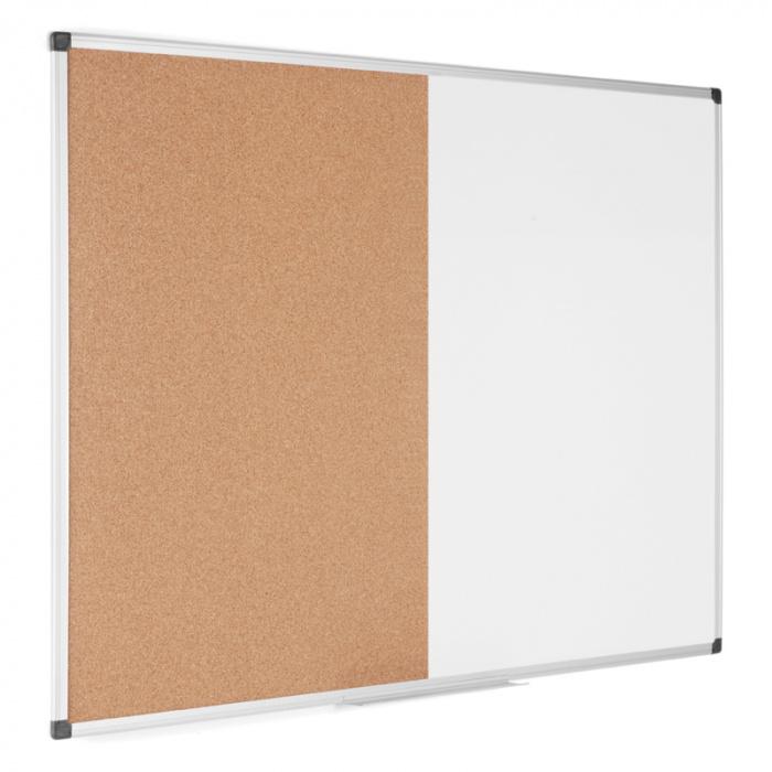 Dělená tabule, korek/magnetická popisovací, 1200x900 mm