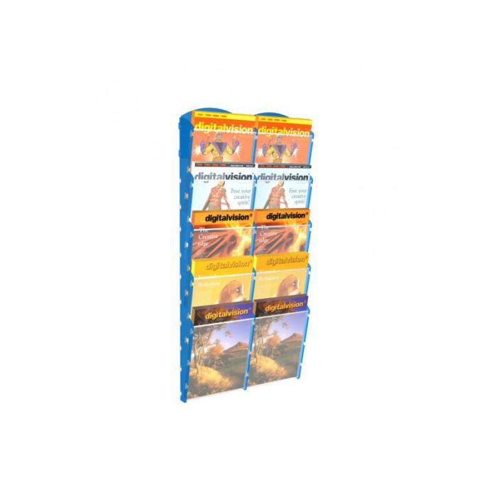 Nástěnné plastové zásobníky na prospekty - 2x5 A4