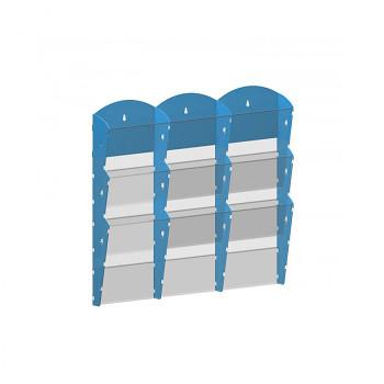 Nástěnné plastové zásobníky na prospekty - 3x3 A4