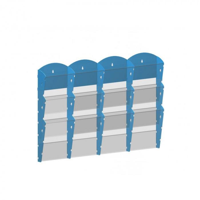 Nástěnné plastové zásobníky na prospekty - 4x3 A4