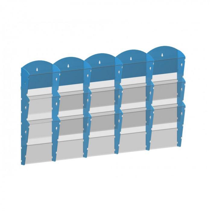 Nástěnné plastové zásobníky na prospekty - 5x3 A4