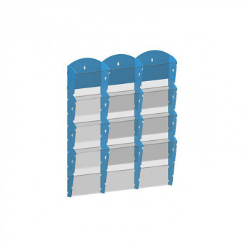 Nástěnné plastové zásobníky na prospekty - 3x4 A4
