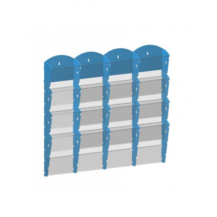 Nástěnné plastové zásobníky na prospekty - 4x4 A4