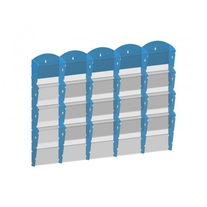 Nástěnné plastové zásobníky na prospekty - 5x4 A4