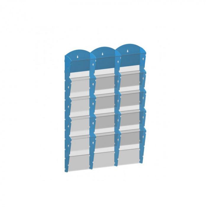 Nástěnné plastové zásobníky na prospekty - 3x5 A4