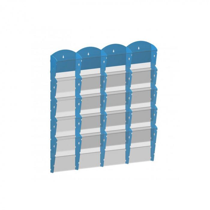 Nástěnné plastové zásobníky na prospekty - 4x5 A4