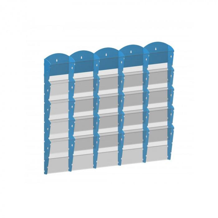 Nástěnné plastové zásobníky na prospekty - 5x5 A4