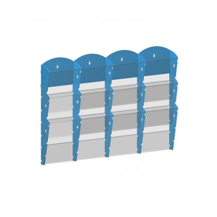 Nástěnné plastové zásobníky na prospekty - 4x3 A5