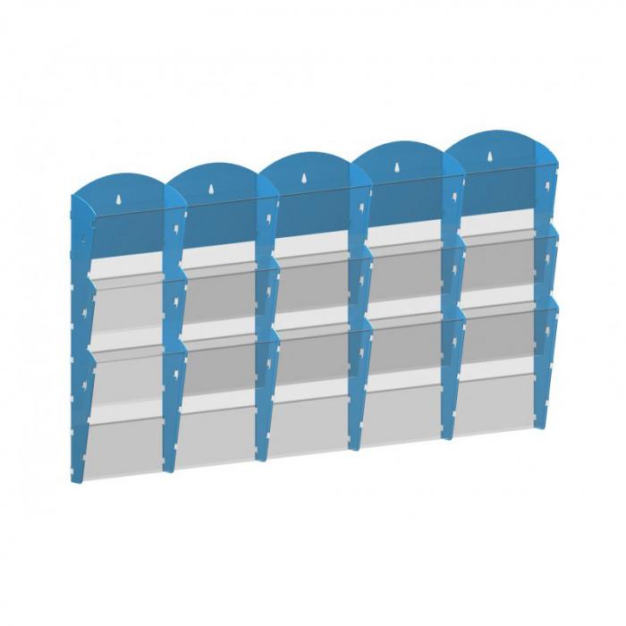 Nástěnné plastové zásobníky na prospekty - 5x3 A5