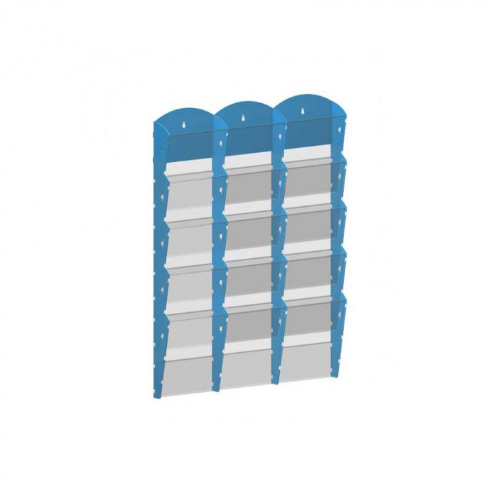 Nástěnné plastové zásobníky na prospekty - 3x5 A5