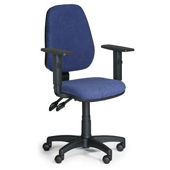 Kancelářská židle ALEX modrá s područkami, plastový kříž