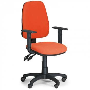 Kancelářská židle ALEX oranžová s područkami, plastový kříž