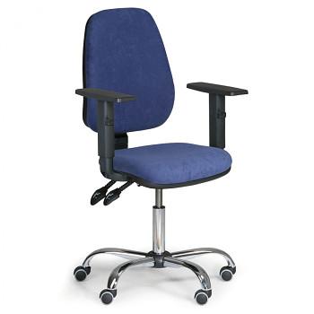 Kancelářská židle ALEX modrá s područkami, ocelový kříž