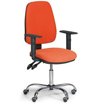 Kancelářská židle ALEX oranžová s područkami, ocelový kříž