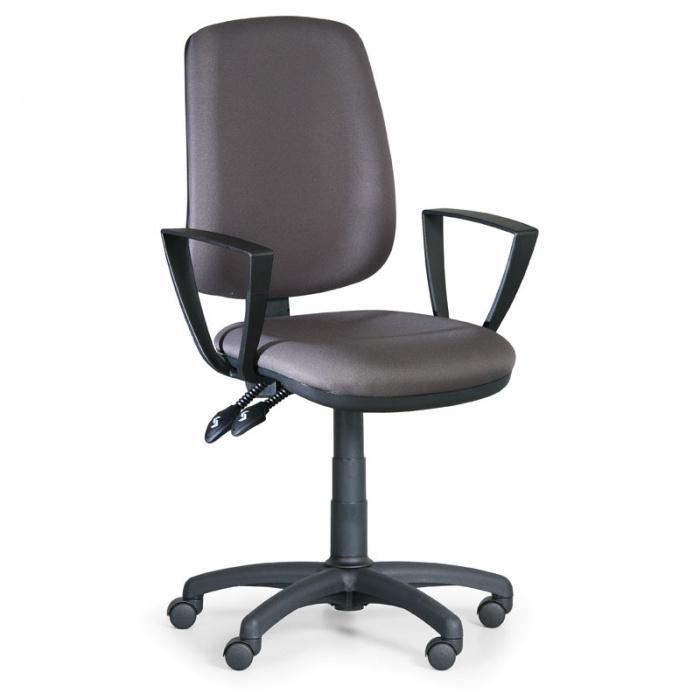 Kancelářská židle ATHEUS šedá s područkami, plastový kříž
