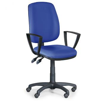 Kancelářská židle ATHEUS modrá s područkami, plastový kříž