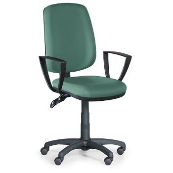 Kancelářská židle ATHEUS zelená s područkami, plastový kříž