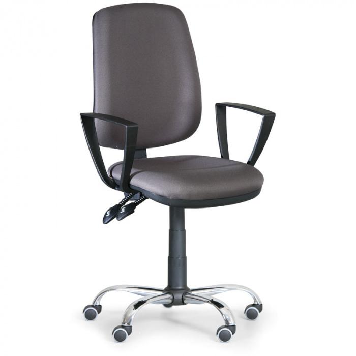 Kancelářská židle ATHEUS šedá s područkami, ocelový kříž