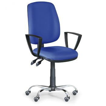Kancelářská židle ATHEUS modrá s područkami, ocelový kříž