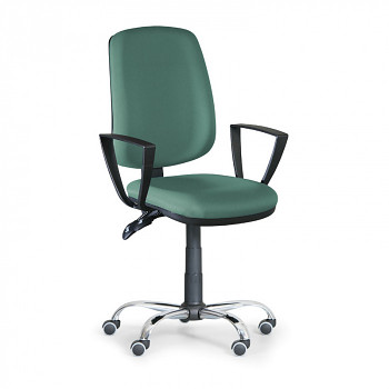 Kancelářská židle ATHEUS zelená s područkami, ocelový kříž