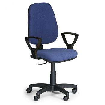 Kancelářská židle COMFORT modrá s područkami, plastový kříž