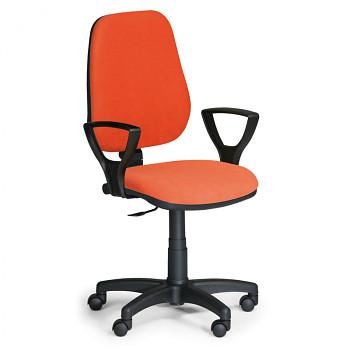 Kancelářská židle COMFORT oranžová s područkami, plastový kříž