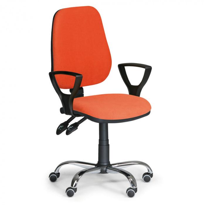 Kancelářská židle COMFORT oranžová s područkami, kovový kříž