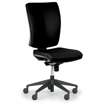 Kancelářská židle LEON PLUS černá bez područek, plastový kříž