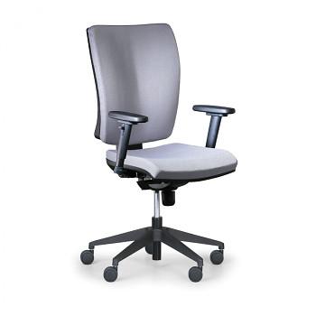 Kancelářská židle LEON PLUS šedá s područkami, plastový kříž