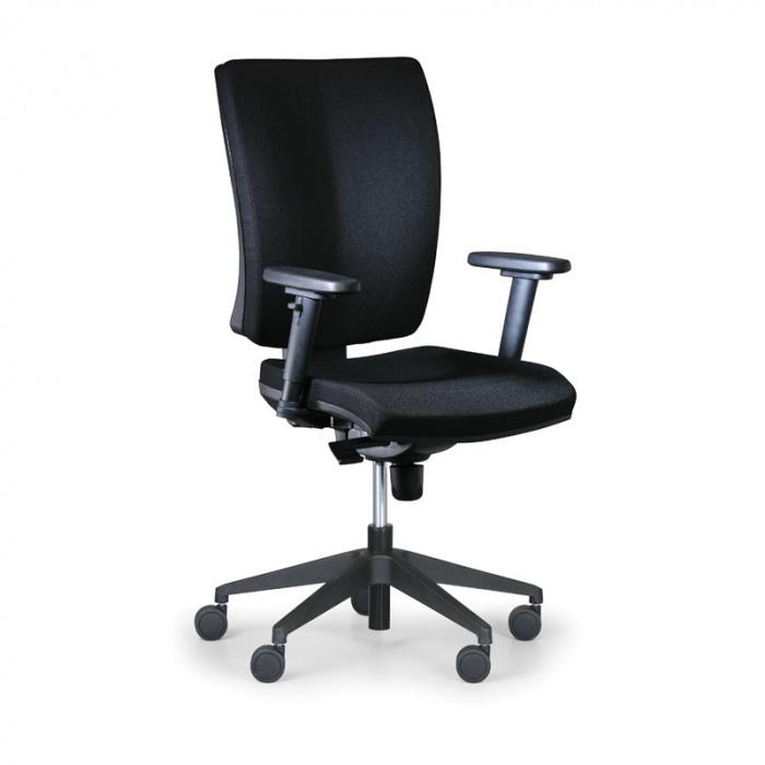Kancelářská židle LEON PLUS černá s područkami, plastový kříž