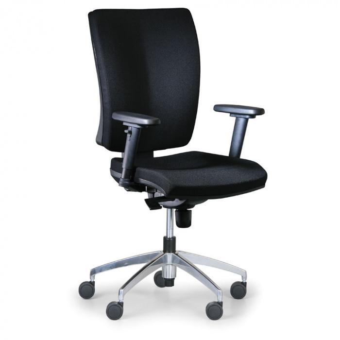 Kancelářská židle LEON PLUS černá s područkami, kovový kříž