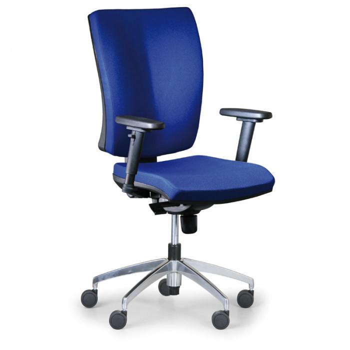 Kancelářská židle LEON PLUS modrá s područkami, kovový kříž