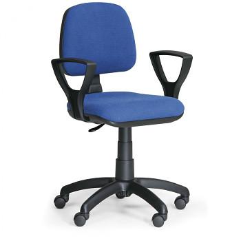 Kancelářská židle MILANO, modrá s područkami, s kolečky