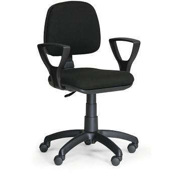 Kancelářská židle MILANO, černá s područkami, s kolečky