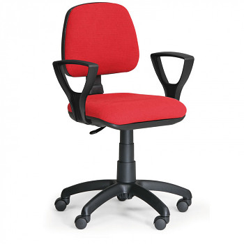 Kancelářská židle MILANO, červená s područkami, s kolečky