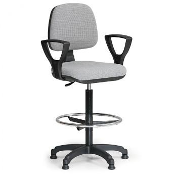 Kancelářská židle MILANO, šedá s područkami, s kluzáky