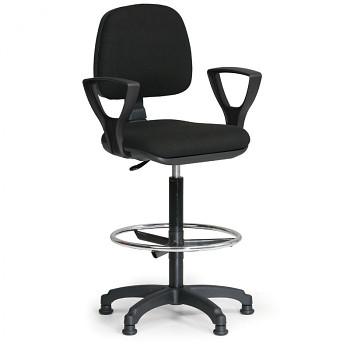 Kancelářská židle MILANO, černá s područkami, s kluzáky