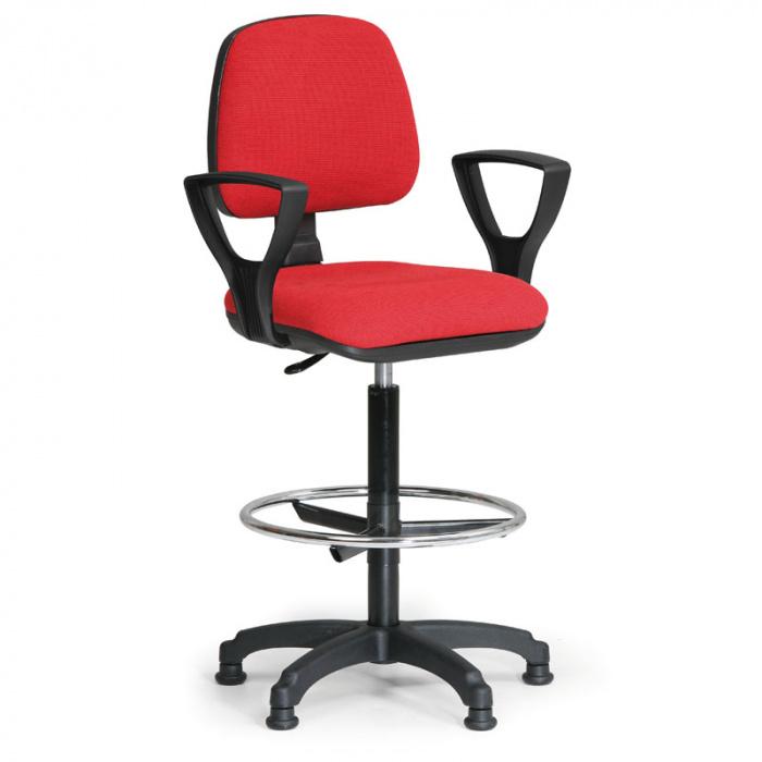 Kancelářská židle MILANO, červená s područkami, s kluzáky