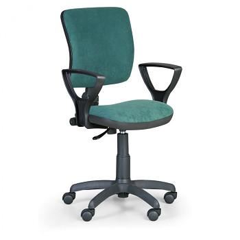 Kancelářská židle MILANO I, zelená s područkami, s kolečky
