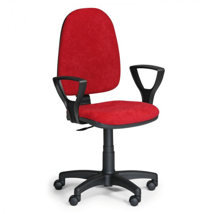 Kancelářská židle TORINO, červená s područkami, plastový kříž