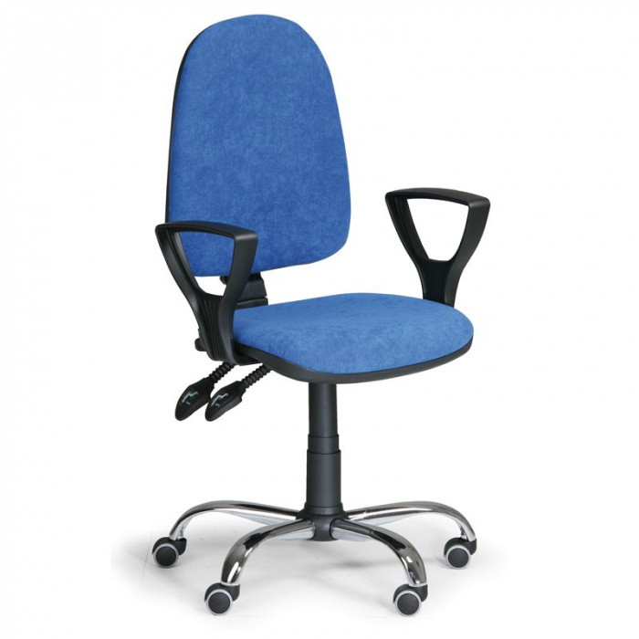 Kancelářská židle TORINO, modrá s područkami, ocelový kříž