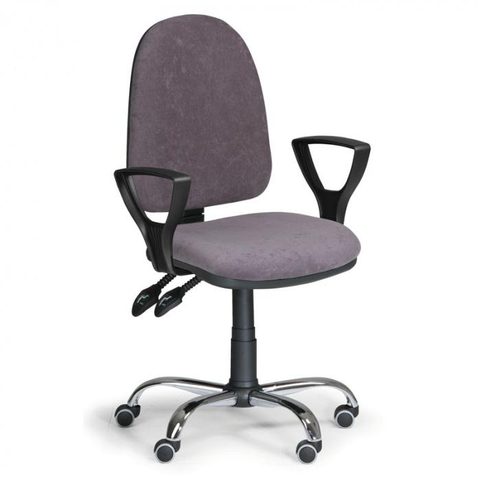 Kancelářská židle TORINO, šedá s područkami, ocelový kříž
