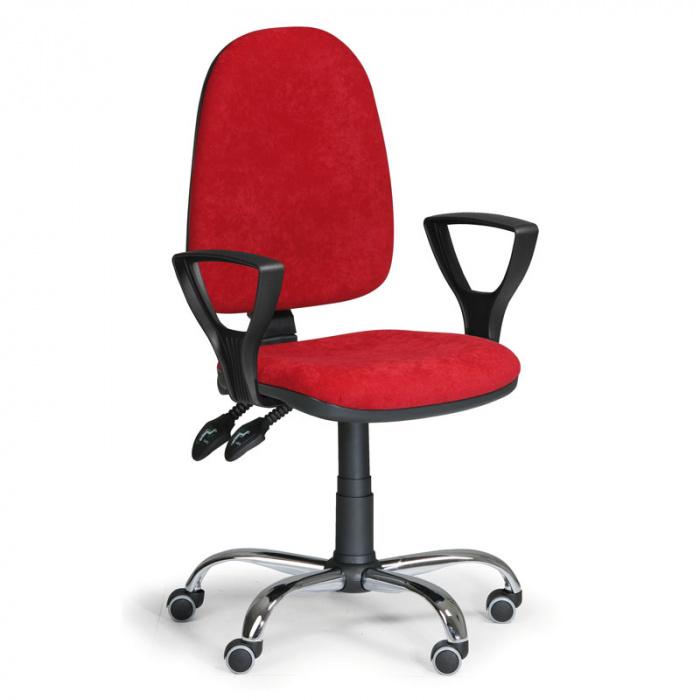 Kancelářská židle TORINO, červená s područkami, ocelový kříž