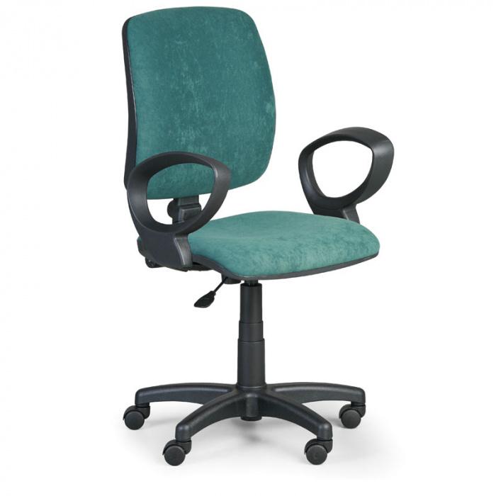 Kancelářská židle TORINO I, zelená s područkami, plastový kříž