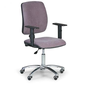 Kancelářská židle TORINO I, šedá s područkami, ocelový kříž