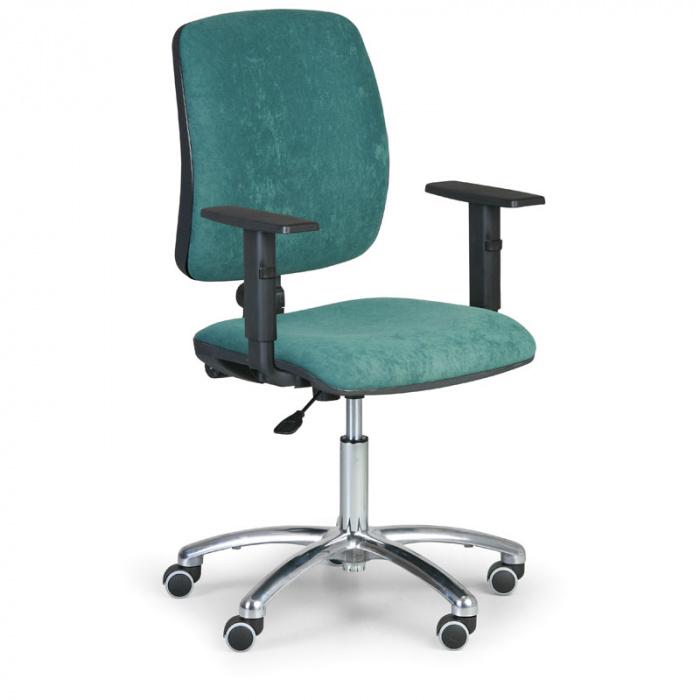 Kancelářská židle TORINO I, zelená s područkami, ocelový kříž