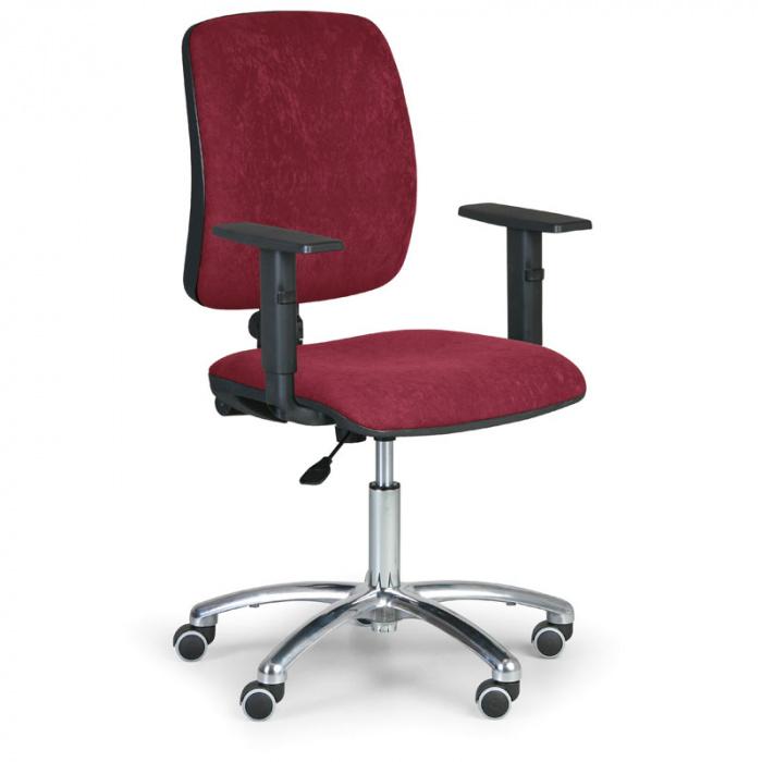 Kancelářská židle TORINO I, červená s područkami, ocelový kříž