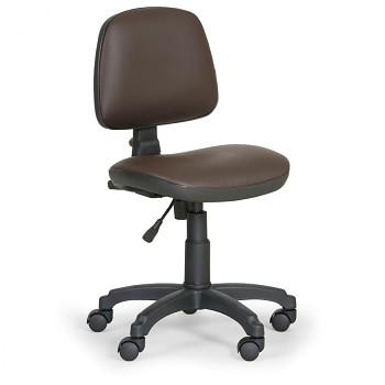 Pracovní židle MILANO hnědá bez područek, kolečka