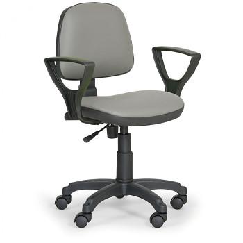 Pracovní židle MILANO šedá s područkami, kolečka