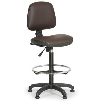 Pracovní židle MILANO hnědá bez područek, kluzáky